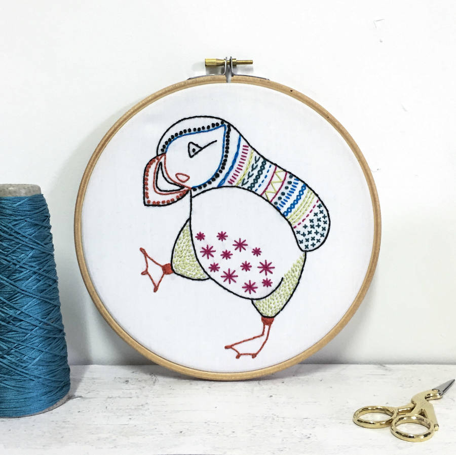 Puffin contemporary embroidery craft kit by hawthorn