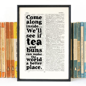 'Tea And Buns' Kitchen Art Quote Print - typography