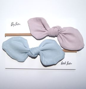 Small Bow Set, Blue And Dusky Pink