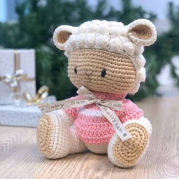 Hand Knitted Baby Lamb Teddy Personalised