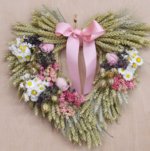 Pink Heart Wheat Wreath