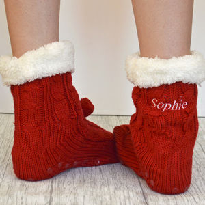 Personalised Chunky Knitted Slipper Boots - christmas clothing & accessories