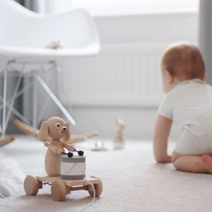 Arthur Pull Along Wooden Dog With Drum Pre Order - christening gifts