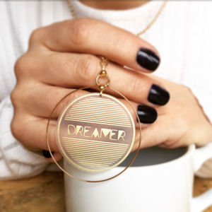 Dreamer Gold Hoop Necklace - necklaces & pendants