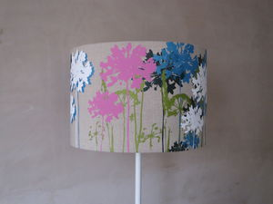 Multi Coloured Floral Screen Printed Linen Lampshade - office & study