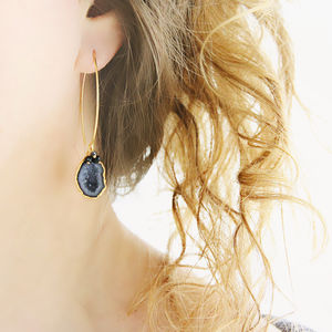 Black Geode And Diamond Earrings