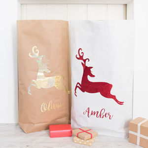 Personalised Glitter Reindeer Paper Christmas Sack - treats & food