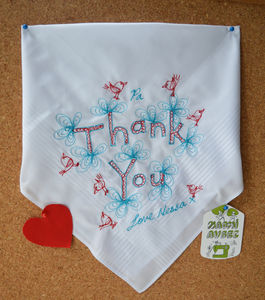 Embroidered 'Thank You' Art Handkerchief - handkerchiefs