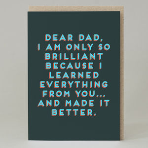 'Dear Dad' Bold Text Card - best father's day cards