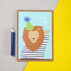 Birthday Boy Lion Children's Card - birthday cards