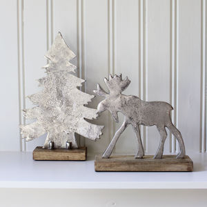 Aluminium Tree And Stag Decoration