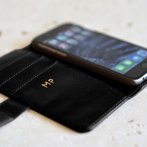 Black iPhone Case Wallet With Gold Initials