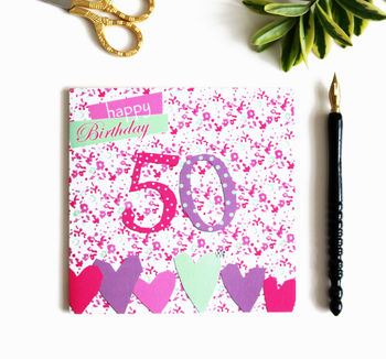 50th Birthday Card With Crystal Gem