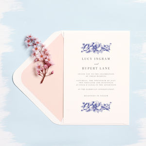 Set Of 20 Blue Hydrangea Wedding Invitation