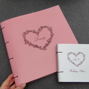 Personalised Love Heart Leather Scrapbook Album - diy & craft
