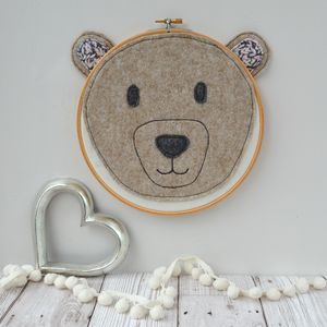 Handmade Bear Head Embroidery Hoop - mixed media & collage