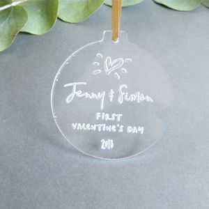 First Valentine's Day Personalised Bauble Decoration