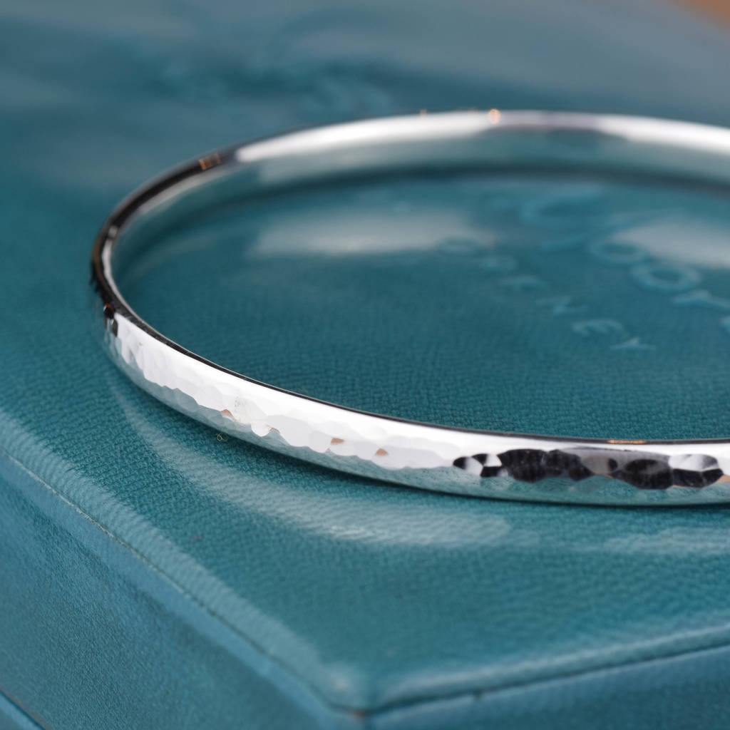 a0e8740d07ab0 Simple Handmade Hammered Silver Bangle