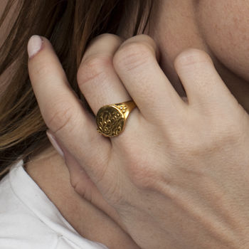 18k Gold Vermeil Indian Coin Signet Ring