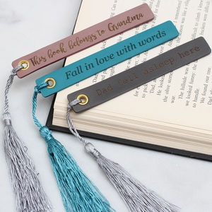 Personalised Italian Leather And Silk Bookmark - desk accessories