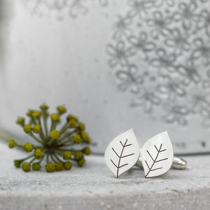 Leafy Cufflinks In Solid Sterling Silver