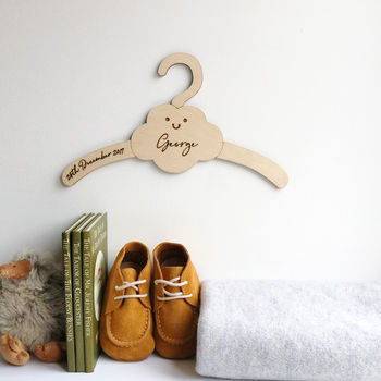 Personalised Childrens Coat Hanger With Cloud Design