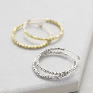 Gold Silver Nugget Hoop Earrings