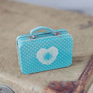 Blue Polka Dot Tin Suitcase