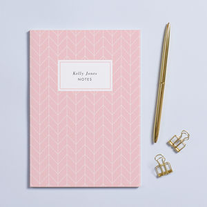 Personalised Pink Herringbone A5 Notebook - millennial pink