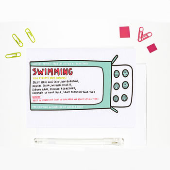 Swimming Prescription Card
