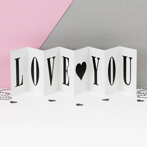 Personalised Valentine Card; Love You Concertina Card