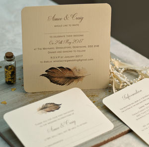 'Boho' Feather Wedding Invitations - summer sale