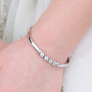 Silver Round Cubic Zirconia Baby Or Child Bangle - bracelets