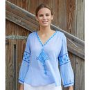 Meenu Embroidered Cotton Blouse Sky Blue