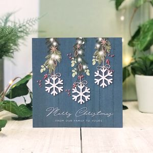Our Family Blue Country Christmas Botanical Card - new in christmas
