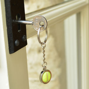 Genuine Tennis Ball Silver Keyring