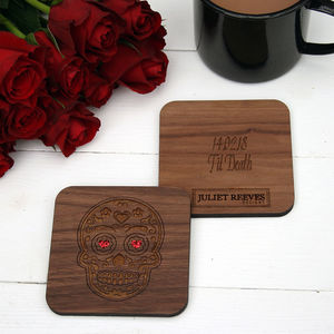 Wooden Mexican Skull Coaster - tableware