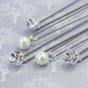 Set Of Five Pearl And Diamante Wedding Hairpins - wedding fashion