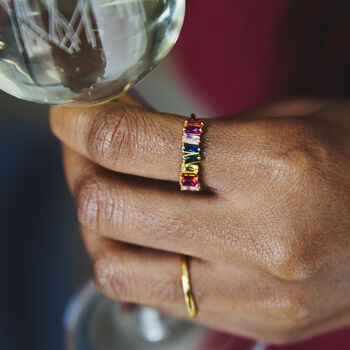 Rainbow Baguette Crystal Ring