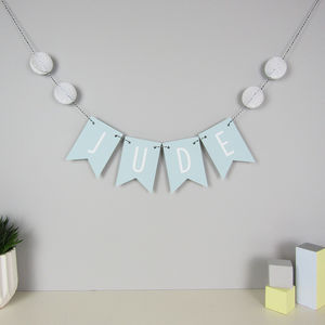 Personalised Name Bunting With Honeycomb Pom Poms - children's room