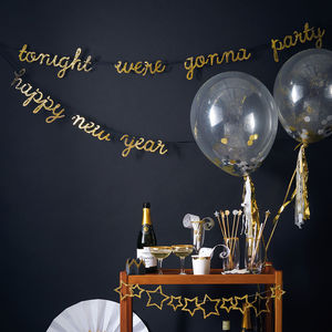 Gold Confetti Balloons - new years eve entertaining