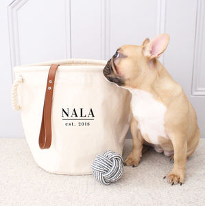 Personalised Pet Storage Canvas Rope Basket - baskets