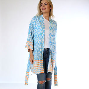 Pacific Islands Sky Bamboo Short Kimono - kaftans & cover-ups