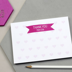 Personalised Hearts Thank You Notepad