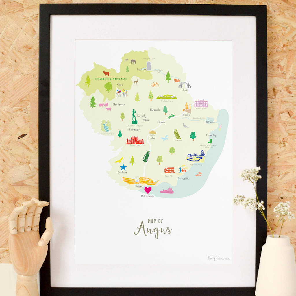 Personalised Angus County Map With Treasured Locations