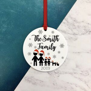 Stick Family Santa Hat Christmas Tree Decoration Bauble
