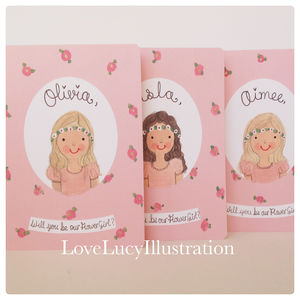 Personalised Flower Girl/Bridesmaid Card - be my bridesmaid?