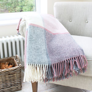 Dusky Pink And Grey Check Wool Throw