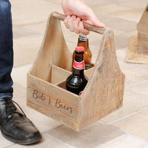 Personalised Wooden Vintage Four Beer Bottle Carrier