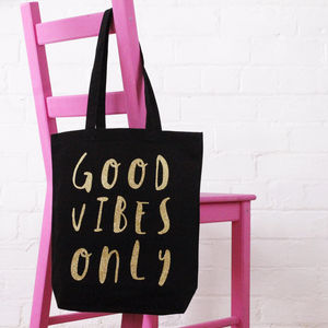 'Good Vibes Only' Cotton Tote Bag - bags & purses